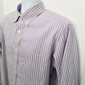 Eddie Bauer Purple Striped Relaxed Fit Shirt Large